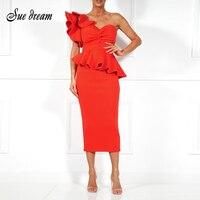 Spring Summer Party Dress One Shoulder Ruffle Dress 2018 Women Sexy Flounce Midi Dresses Elegant Empire