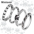 Minlover 2016 New Arrival Vintage Silver Plated Rings Sets 4 in 1 Crystal Stackable Rings for Women JZ010