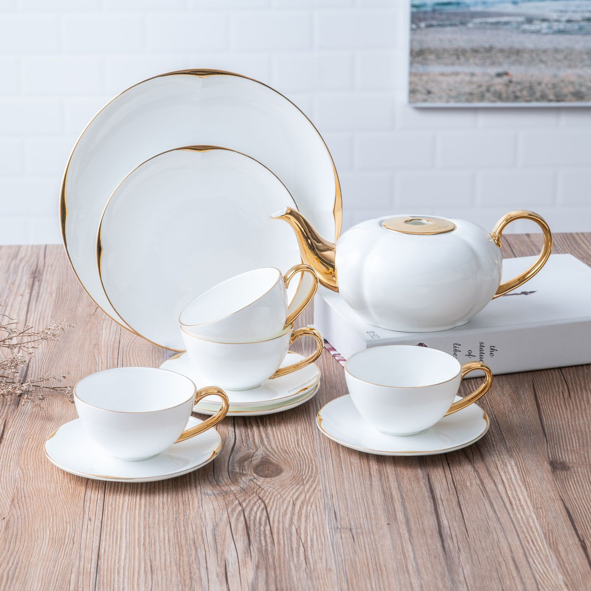 Os chine café Service concis Trace un Design en céramique d'or tasse et soucoupe plaque nord Europe après-midi thé costume