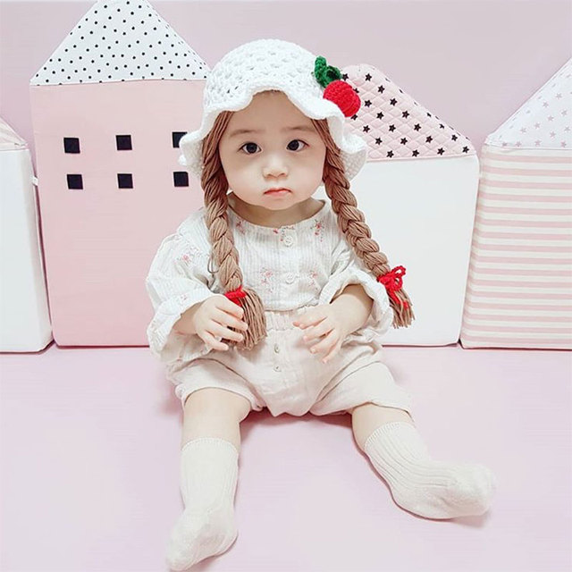 Baby Girls Dome Wool Fisherman Hat Cotton Wool Knitted Warm Comfortable Creative Little Girl's Twisted Braid Design Lovely Baby