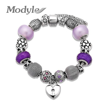 Modyle New Glass Charm Bracelets & Bangles Silver-Color Heart Charm Beads Fit Bracelets For Women Jewelry gold earrings for women