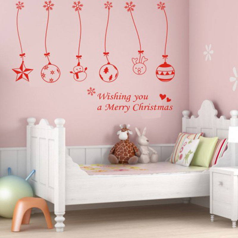 Christmas Balls Bells Hanging Chain Wall Sticker Home Decoration Stores Showcase Decorations Window Stickers In From Garden