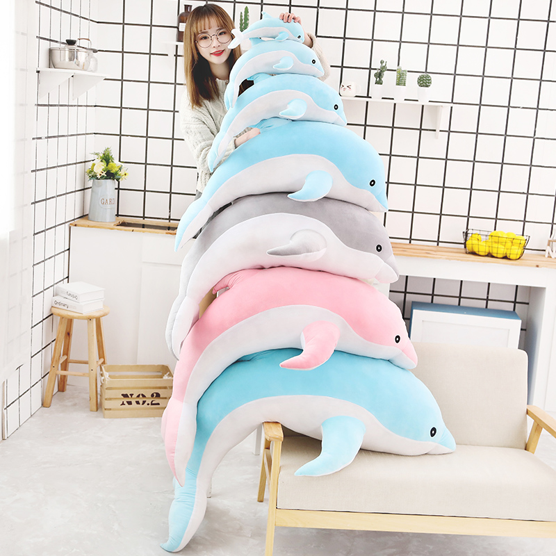 1pc 25-130cm Soft Big Blue Pink Gray Dolphin Plush Toys Stuffed Dolls Animal Pillow Kawaii Animal Pillow Kid Toy Sleeping Pillow