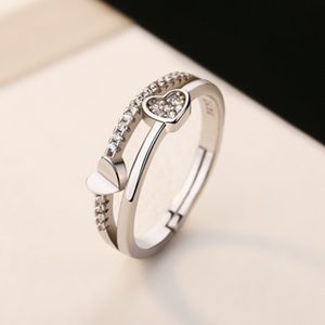 fashion Delicate Double Heart Finger Ring For Women CZ Zirconia Crystal Adjustable Hollow Out Wedding Party Ring Gifts 2020