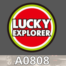 Lucky Explorer Logo Sign Sticker Red Circle Waterproof Suitcase Laptop Guitar Luggage Skateboard Toy Lovely Stickers(China)