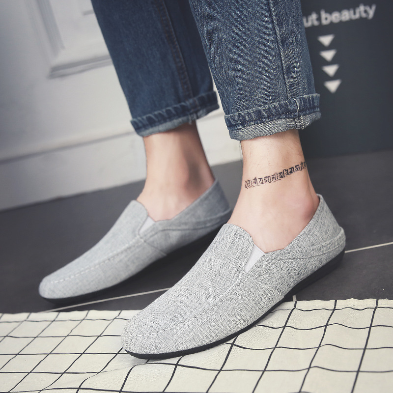 YD-EVER 2018 New summer men shoes hemp loafers quality slip on breathable canvas shoes man