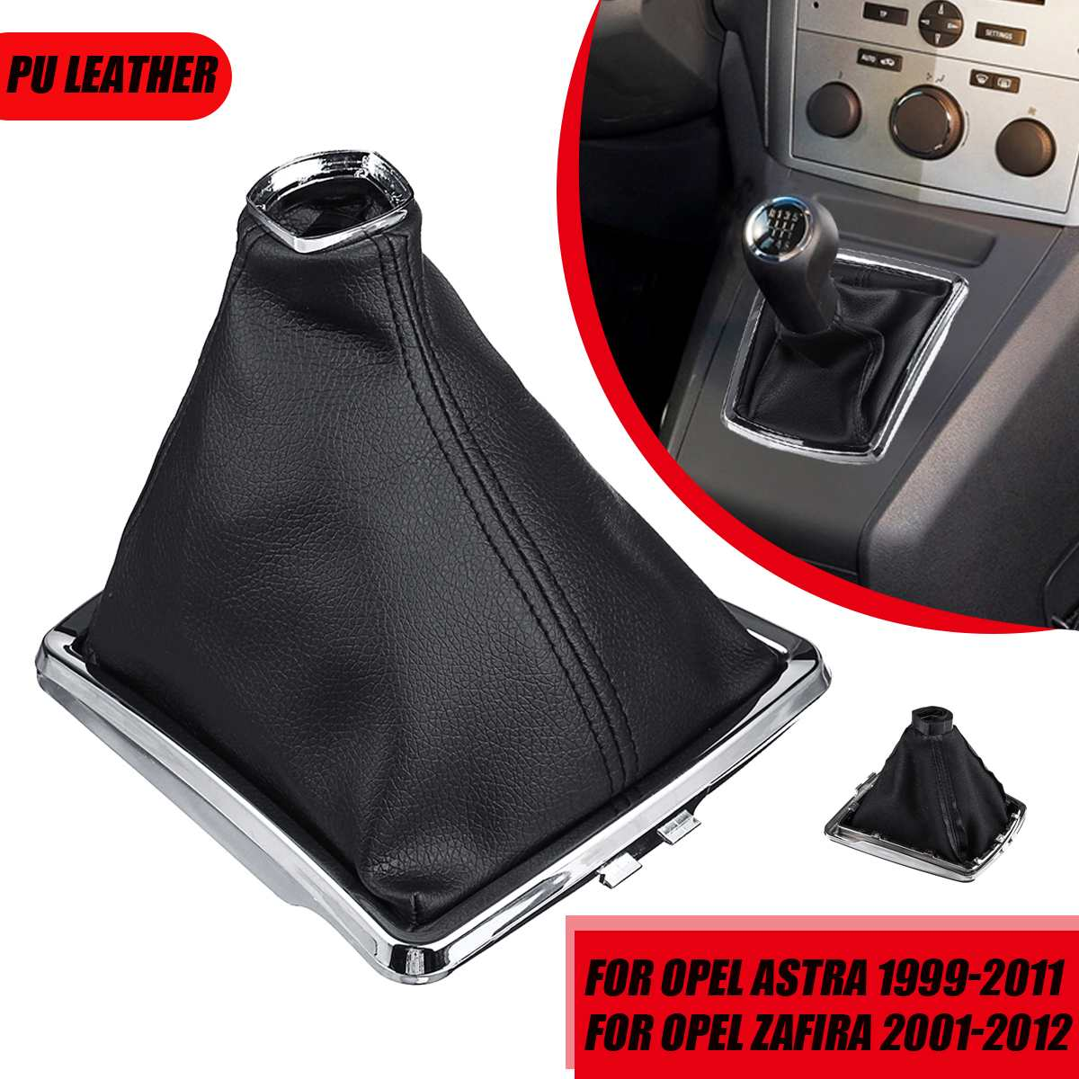 PU Leather Car Gear Gaiter Boot Cover Shift Knob Gaitor Boot For Opel Astra 1999-2011 Zafira 2001-2012
