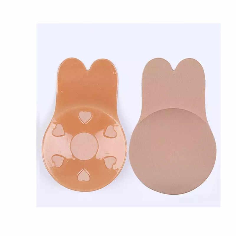 1 par de mujeres Auto adhesivo Push Up Bra silicona pezón cubrir pegatinas mujer ropa interior Invisible Bra Strapless Blackless Bralette