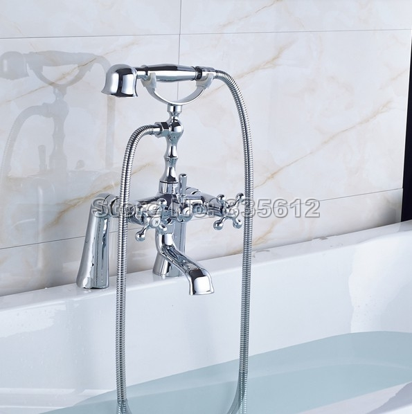 Chrome Brass Deck Mounted Dual Cross Handle Bathtub Faucet Bathroom Shower Mixer Taps with Telephone Style Handheld Shower J051 wall mounted two handle auto thermostatic control shower mixer thermostatic faucet shower taps chrome finish