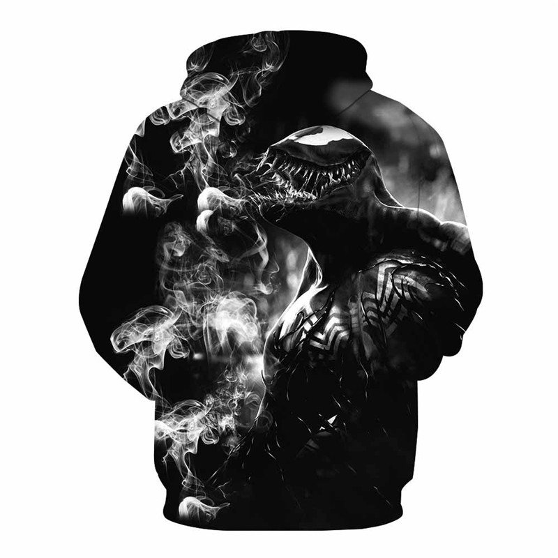 Black Venom Cool Hoodie 3D Print Zipper Hoodies Spider-Man Tops Coat Jacket Sweatshirt 2018 Pullovers Tops Dropshipping!