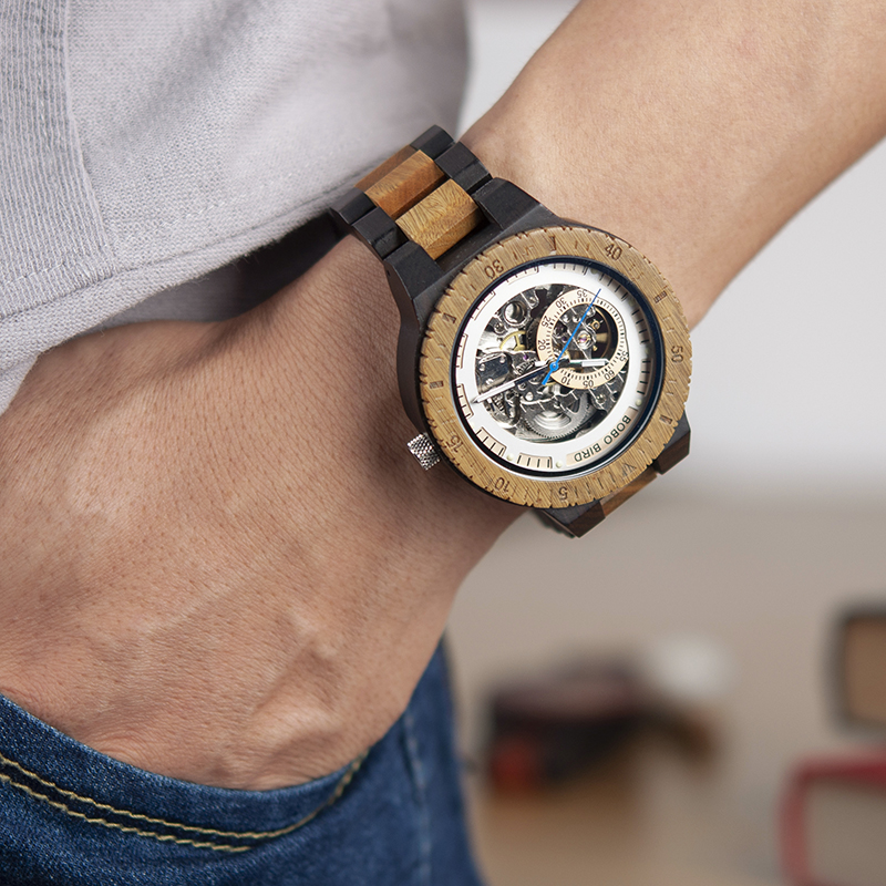 HTB15cZAlljTBKNjSZFuq6z0HFXaz BOBO BIRD Wooden Mechanical Watch Men Relogio Masculino Big Mens Watches Top Brand Luxury Timepieces erkek kol saati W-R05