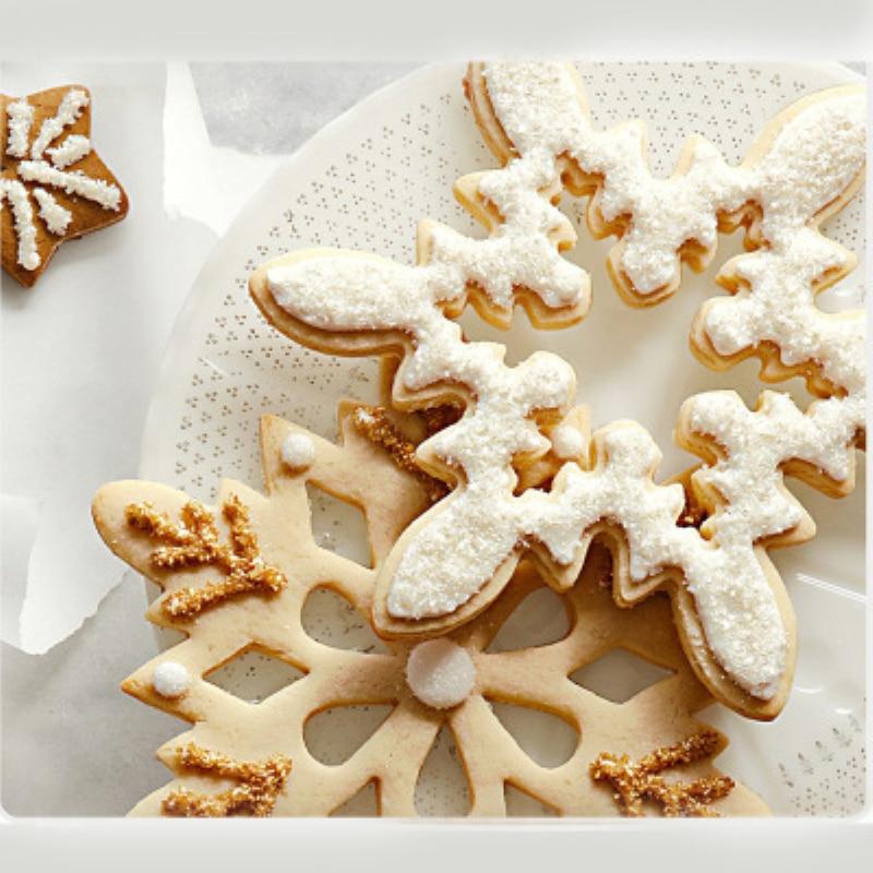 Cookie moldes de Navidad copo de nieve galleta cortador de acero inoxidable pastel accesorios DIY Cookie herramientas
