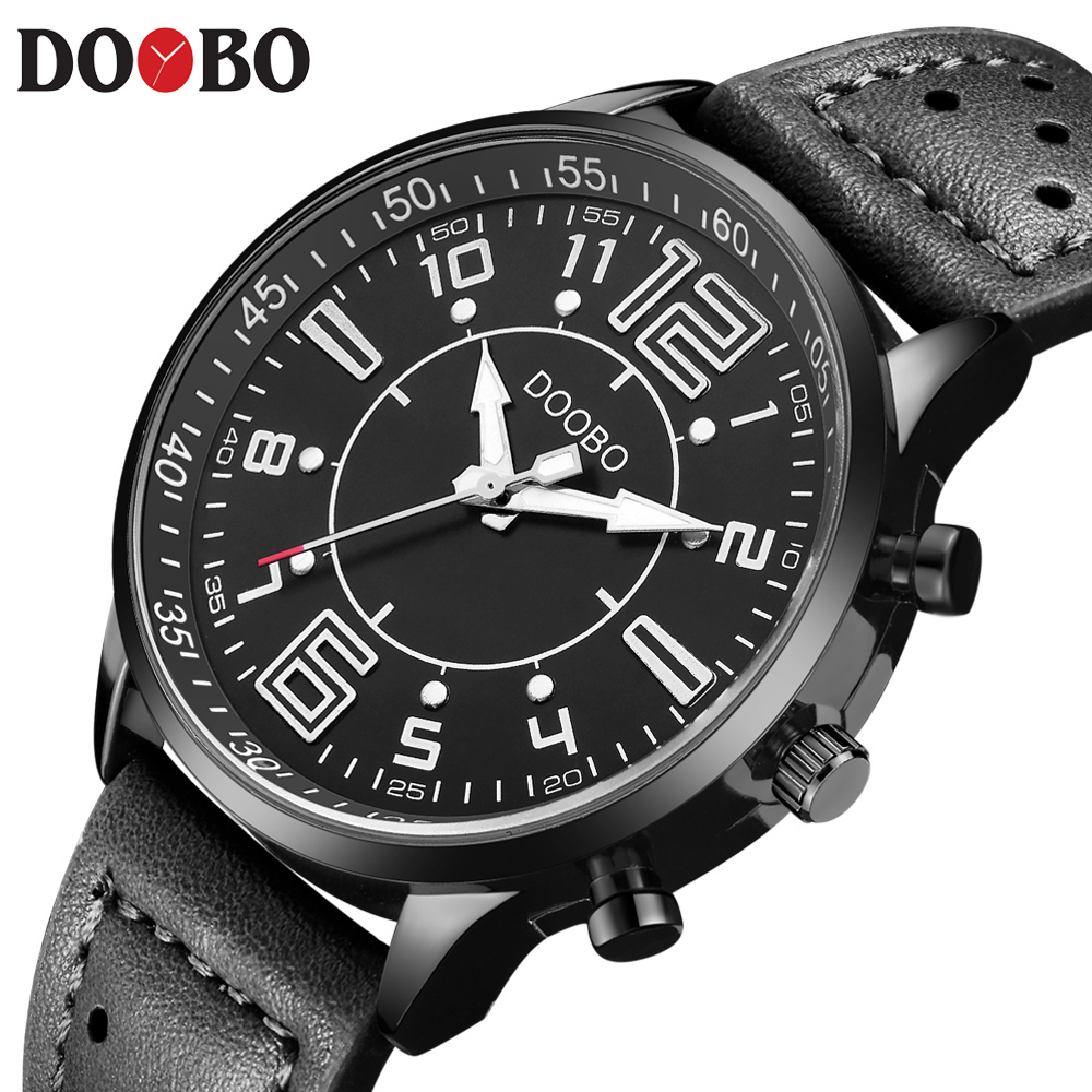 Mens Watches Top Brand Luxury DOOBO Sports Watch Men Military Leather Quartz-watch Waterproof Male Clock Relogio Masculino xinge top brand luxury leather strap military watches male sport clock business 2017 quartz men fashion wrist watches xg1080