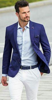 New Arrivals Blue Mens Suits Groom Tuxedos Groomsmen Wedding Party Dinner Best Man Suits (Jacket+Pants+Tie) W:64