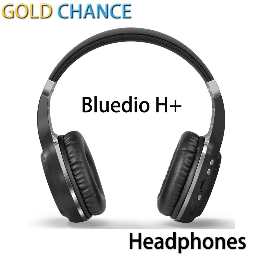 ФОТО 100% Original Bluedio H+ Bluetooth HIFI Headset BT4.1 Headphones Earphones with Mic Bass Stereo Music Micro-SD TF FM