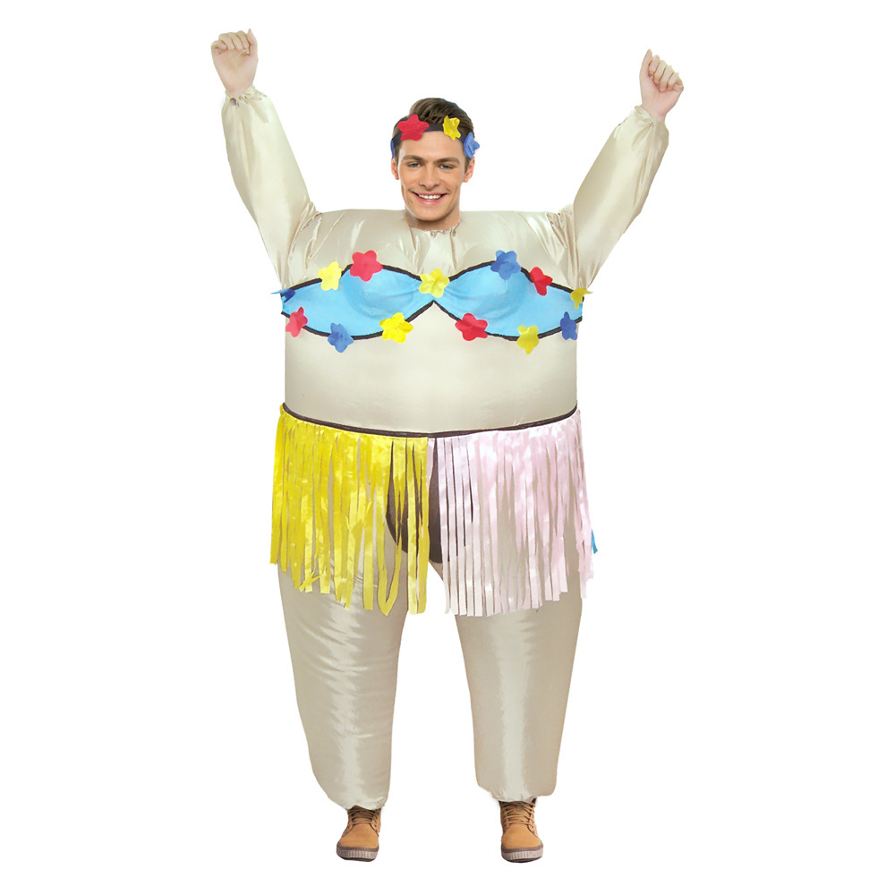 Adult Inflatable Hawaiian Dance Costume Halloween Party Costume Hula-hula Inflatable Costume for Women Purim Carnival Costume