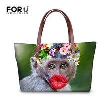 Fashion Women Handbags Funny Red Lips Monkey Brand Bolsos Feminina Girls Top- Handle Large Capacity Female Shoulder Shipper Bags