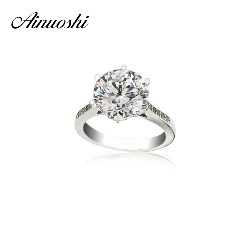 AINOUSHI Luxury 4 Carat NSCD Solitaire Ring Women Genuine 925 Sterling Silver Ring Engagement Sona Female Wedding Finger Rings недорого