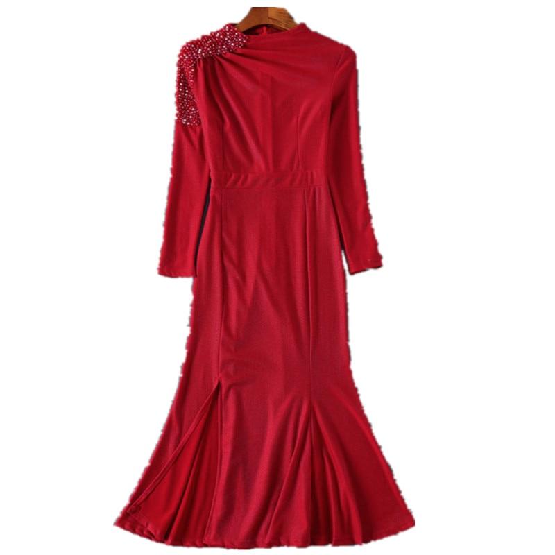 2019 Femmes Robes rouge Printemps Chemise Piste Épaule Été Robe Bikinis Noir Poisson Longue Manches À Longues Designer Perlée De Queue qa15xIw5