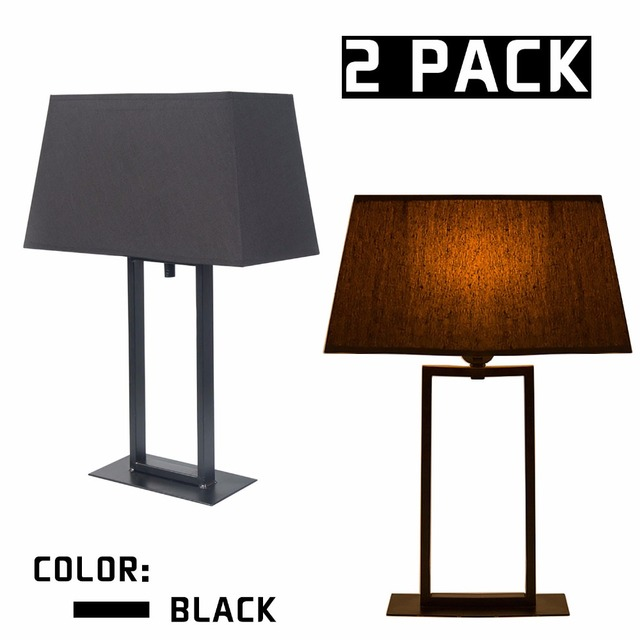 2PACK LED Bulb Lighting Holder Table Lamp Iron Base Fabric Lampshade Bedroom Living Room Home Decoration Lights