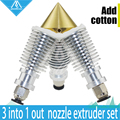 Diamond Hotend 3D printer Extruder Reprap Sharper Brass Multi Color Nozzle 3 IN 1 OUT V6 heatsink Prusa I3 kit For1.75/0.4mm