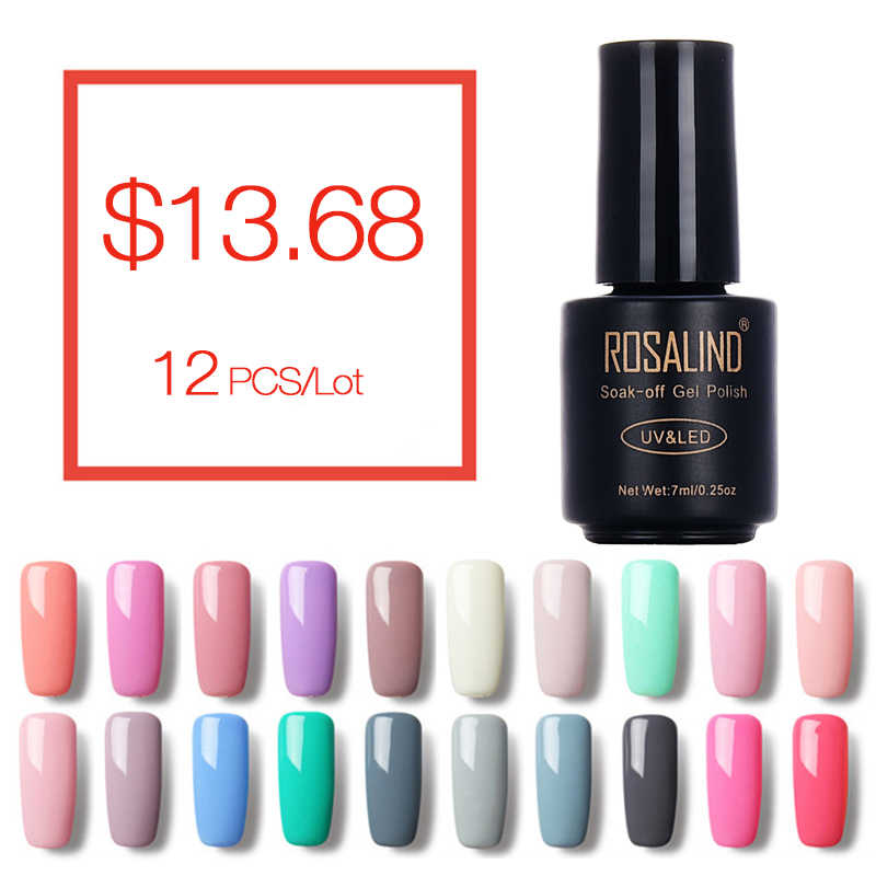 ROSALIND (12 Stks/partij) 7 ML Nail Art Nail Gel Polish Pure 58 Kleuren UV LED Gel Nagellak Semi Permanen Nagellijm Gel lak