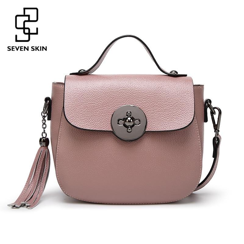 Семь кожи бренд Для женщин из натуральной кожи сумка кисточкой сумки на ремне Мода Дизайн Сумки Для женщин Crossbody Flap Сумки