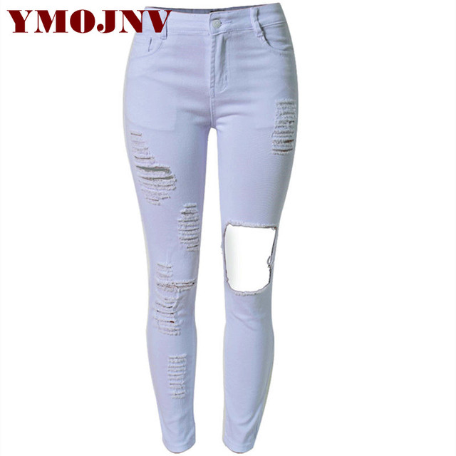 Ripped Waist Jeans YMOJNV Black Beggar Denim Style Women Hole High wqxSITxz