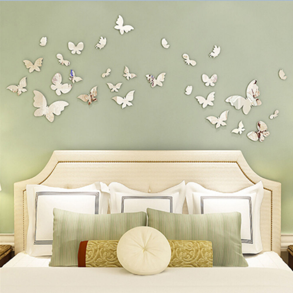 Wall Decorations For Engagement Party : Pcs set new arrive mirror sliver d butterfly wall