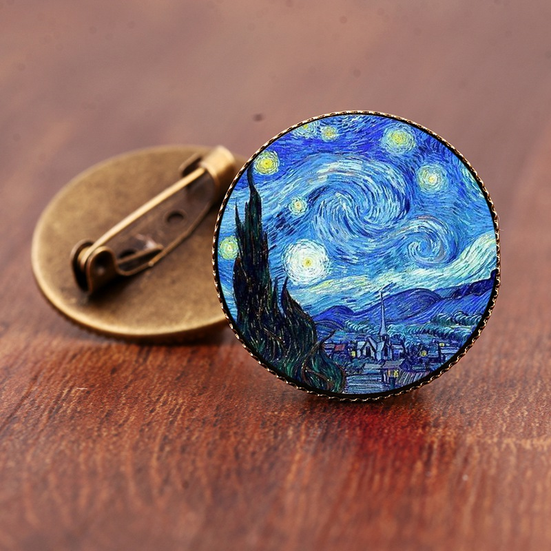 Retro Van Gogh Starry Night Sunflower Antique Bronze Silver Brooch The Kiss Art Painting Round Glass Dome Pins Brooches Jewelry