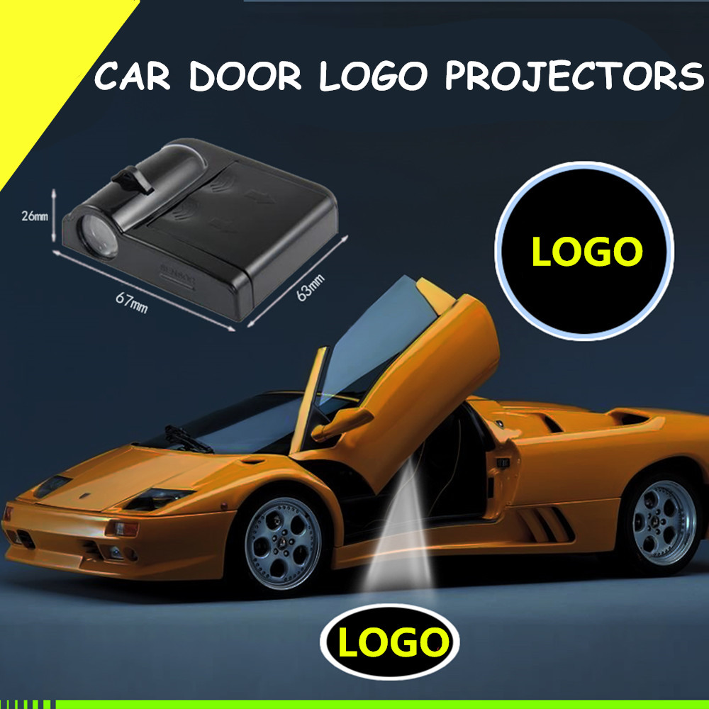 2pcs Futebol Carro-styling Interior Do Carro Lâmpada Porta Do Carro Sem Fio Levou Logotipo Projetor Laser Bem-vindo Santo Sombra Luz