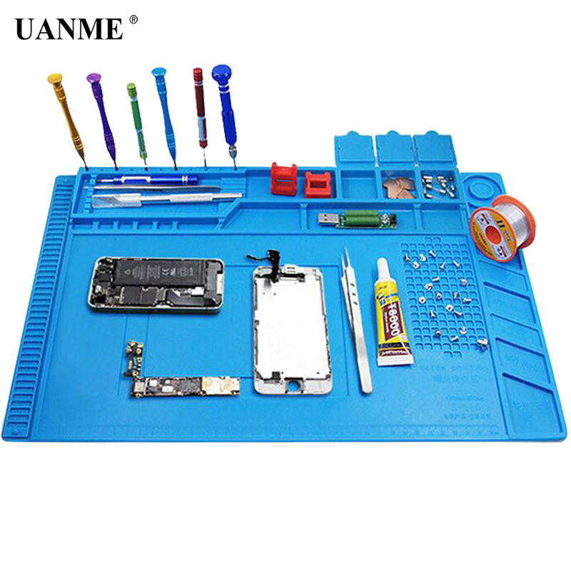 UANME 45x30cm Heat Insulation Silicone Pad Desk Mat Maintenance Platform For BGA Soldering Repair Station With Magnetic Section