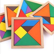 Drewniany Tangram 7 sztuka Puzzle Jigsaw kolorowe kwadratowe IQ gra łamigłówka inteligentne zabawki edukacyjne dla dzieci