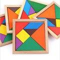 Деревянные Tangram 7 шт головоломки красочные квадратные IQ игры головоломка интеллектуальные обучающие игрушки для детей