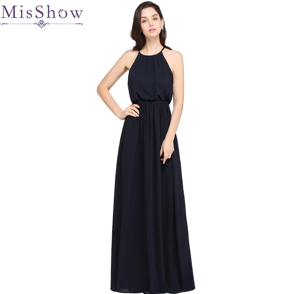 Discount Designer Evening Dresses: 2017 New A Line Halter Navy Blue Long Evening Dresses