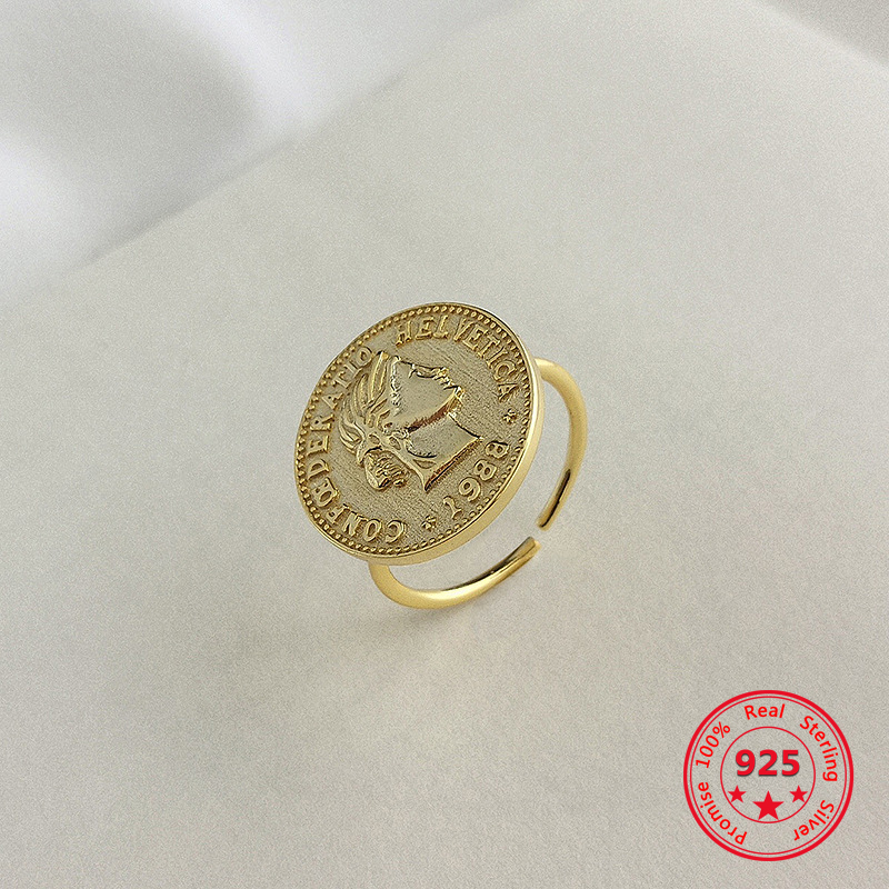European American 925 Silver Rings Modern Trendy Concise Coin Rings Fine Jewelry Gift for Girlfriend
