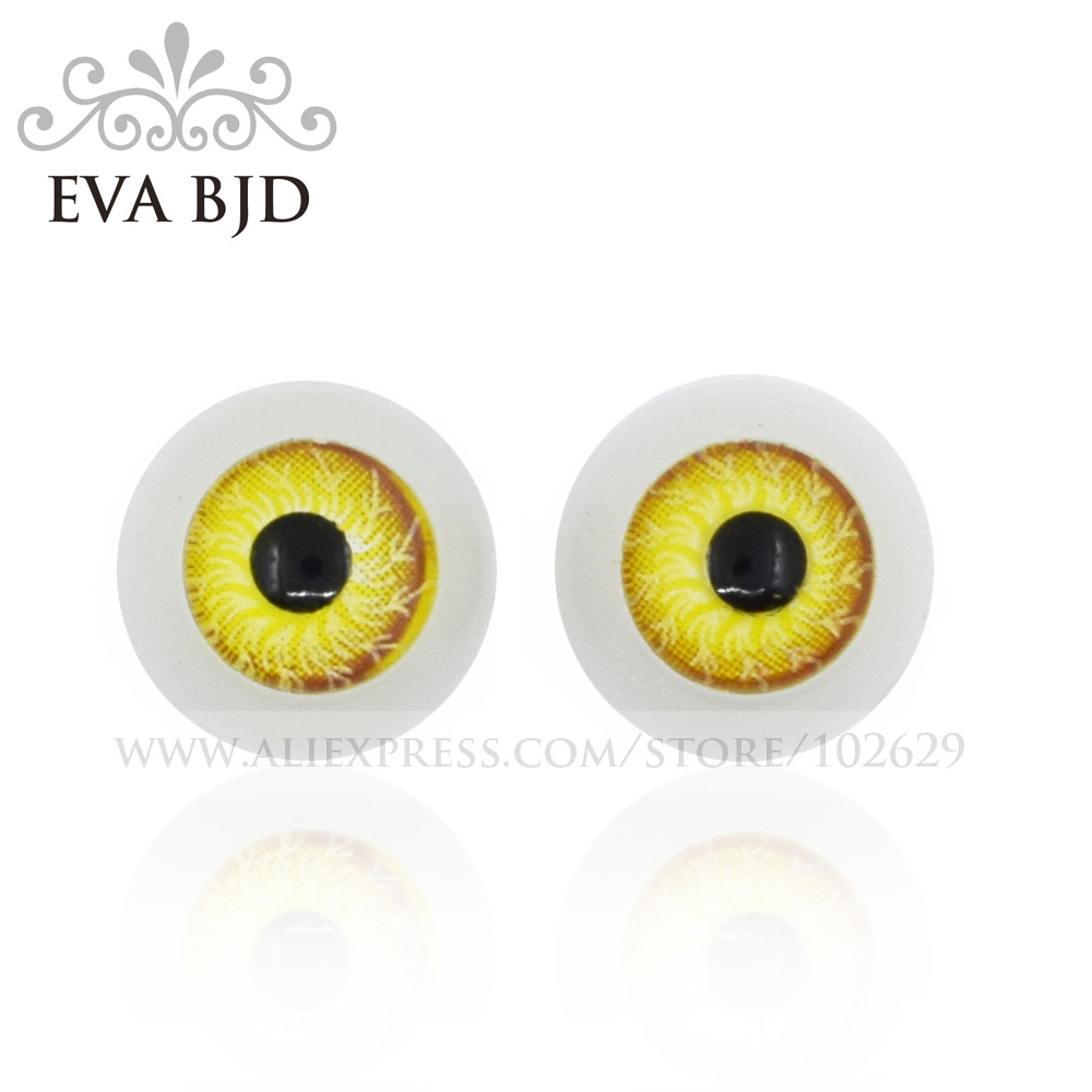 12mm Diameter Eyeball <font><b>Eye</b></font> <font><b>Eyes</b></font> Yellow Color for <font><b>BJD</b></font> Doll jointed dolls replacement eyeballs 1 pair 2 pcs Accessories DAE003-02 image