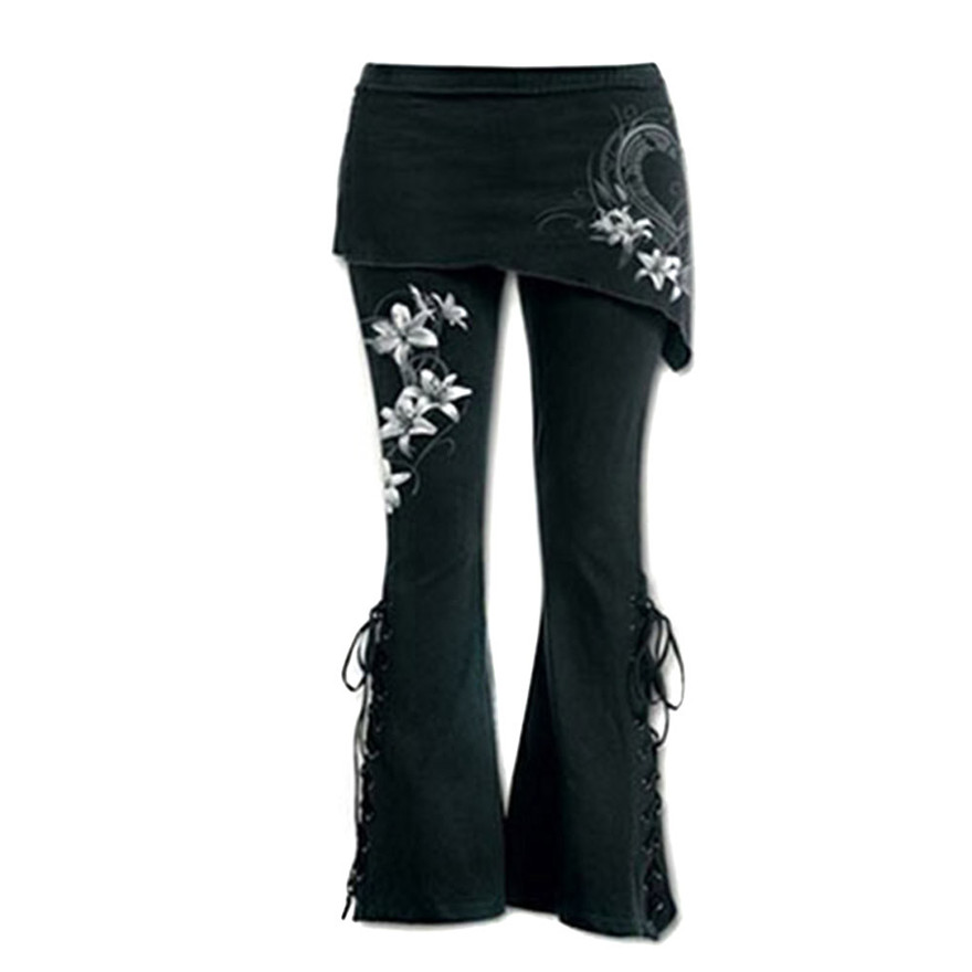 Womens Black Embroidered Casual Bandage Flares Punk Lace Up Bell Bottom Leggings