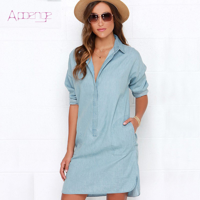 Apoeng Summer Mini Loose Shirt Dresses Women Clothing Denim Dress