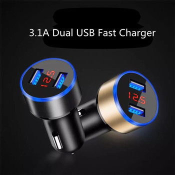 Dual USB Car Charger Digital LED Car Quick Auto Charger 3.1A Cigarette Lighter Adapter for Phone Tablet MP3 Car Accessories image