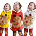 V-TREE NUEVO otoño invierno ropa niñas bebés establece cordero abrigo de cachemir leggings niños ropa conjuntos niños ropa conjuntos