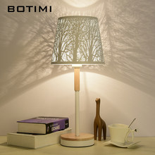 BOTIMI Art Deco Table Lamp With etched Metal Lampshade Bedside Desk lights Hotel Reading Lighting White Book Lamps Luminaria(China)