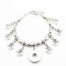 New Arrived 1pcs Metal Cross Bead Snap Bracelet Football Dallas Cowboy  Charms Adjustable 18mm Snap Button 5099e419b