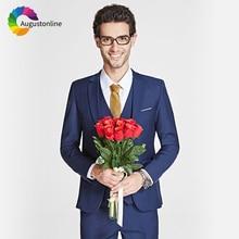 купить Men Suits For Wedding Royal Blue Bridegroom Groom Prom Slim Fit Formal Blazer Custom Tuxedo Best Man Costume Jacket+Pants+Vest по цене 3491.96 рублей
