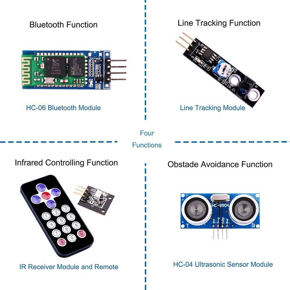 Kit de voiture Robot intelligent projet UNO pour Arduino UNO R3, capteur à ultrasons, module Bluetooth, ect voiture jouet éducatif avec CD - 4