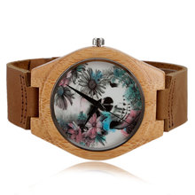 Women Watches Bracelet Bamboo Watch Ladies Cool Design Flower Skull Wooden Handmade Real Leather Band Casual Nature Wood Clock