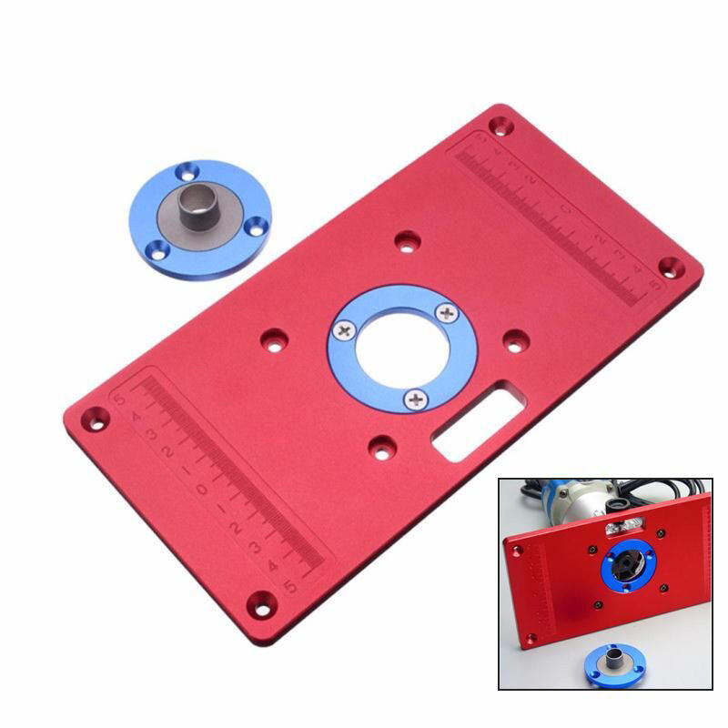 Aluminum Router Table Insert Plate with 2Pcs Insert Ring for Woodworking Bench Tools Accurately Drill Mount