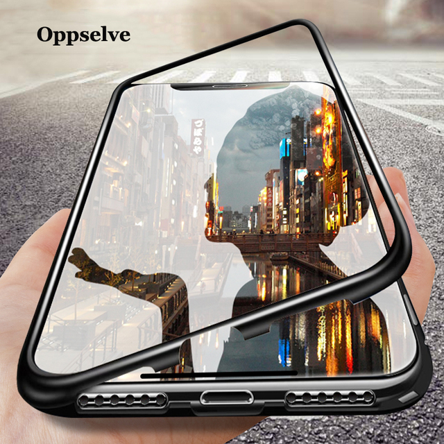 differently f460d 28d25 US $4.13 36% OFF|Magneto Magnetic Adsorption Phone Case For iPhone X Xs Max  Xr 8 7 Plus Ultra Metal Magnet Absorption Back Glass Cover Flip Case-in ...