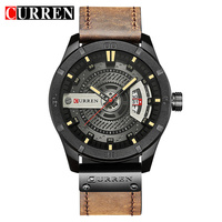 CURREN Top Brand Luxury Watch Men Date Display Leather Rreative Quartz Wrist Watches Fashion Casual Male