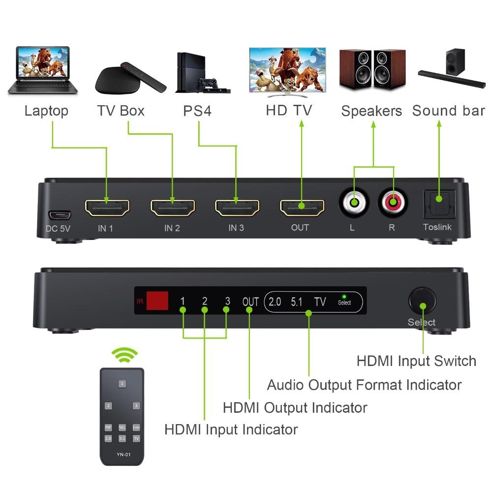 3x1 HDMI Switch Audio Extractor Konverter Analoger Toslink SPDIF 4K 3D 1080P NEU